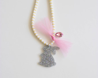 Glitter Bunny and Tulle Necklace