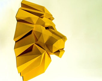 Lion Head,Lion paper, Lion lowpoly, Paper Trophy Lion,papercraft,3D Puzzle diy, DIY, 3D, trophy, papermodel, wall decoration