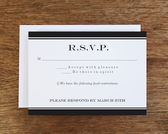 Printable RSVP Card - Response Card Download - Instant Download - RSVP Template - Black & White - Black Stripe Response Card