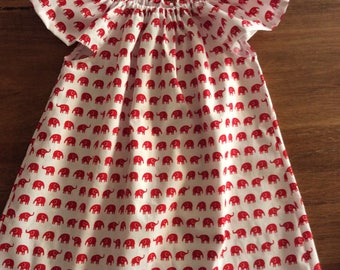 Flutter dress size 2 and 3 summer dress girls dress  flutter sleeve toddler dress  summer dress red elephants