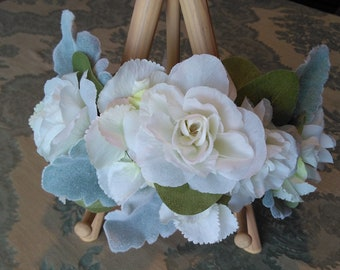 White Rose Wedding Crown with Lamb's Ear Greenery