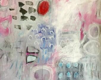 Abstract Art on Paper, Mixed Media, Original Art