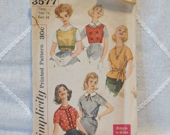 Vintage Simplicity 3577 Sewing Pattern Miss and Junior Blouse and Top Size 14 Crafts  DIY Sewing Crafts PanchosPorch
