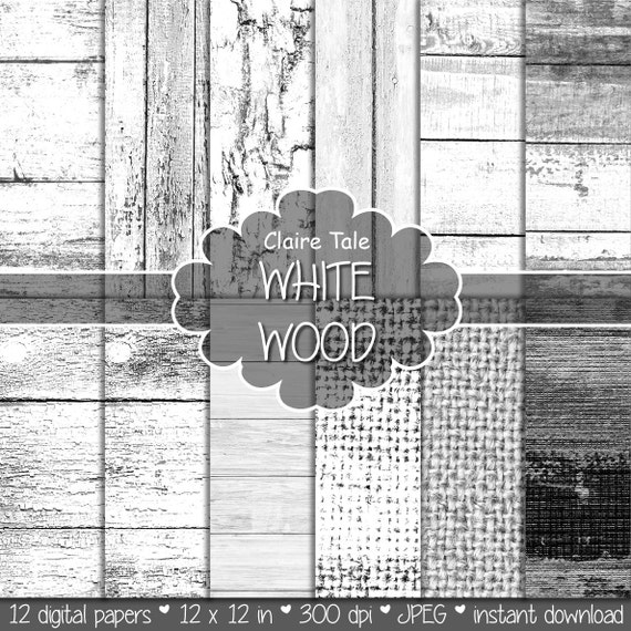 """White wood paper: """"WHITE WOOD"""" with distressed wood background, white wood texture, rustic wood, wood scrapbook paper and burlap papers"""