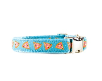 Pizza Dog Collar - Pepperoni Pizza Foodie Aqua Turquoise Adjustable Metal Buckle or Plastic Buckle Dog Collar