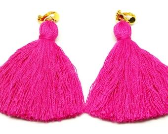 Hot Pink Tassel Earrings Hot Pink Earrings Pink Clip Tassel Earrings Magenta Clip on Earrings Handmade Earrings Long Tassel Earrings