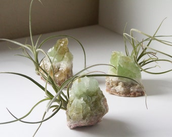 Crystal Air Plant, Green Calcite Geode, Airplant Display, Spiritual Gift For Friend, Yogi, Therapist, Soothing Boho Desk Decor
