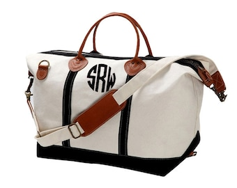 Monogram Canvas Weekender Bag - Large - Great Gift For Bridesmaids - Teacher - Sorority Sisters - Beach Bag