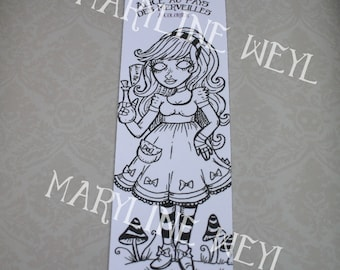 "Bookmark coloring ""Alice in the Wonderland"" Drink me"
