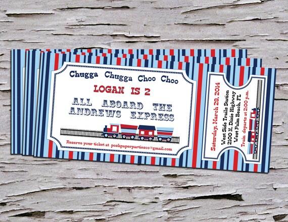 Train themed birthday party invitation train ticket diy like this item filmwisefo Choice Image