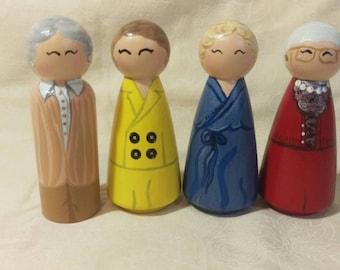 Golden Girls Peg doll Set~~~Kokeshi doll, miniatures, figurines, wooden dolls,custom set,