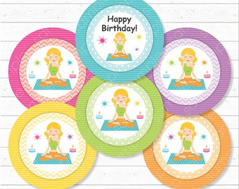 Yoga Cupcake Toppers, Yoga stickers, Yoga birthday, yoga party, yoga toppers, Printable, INSTANT DOWNLOAD