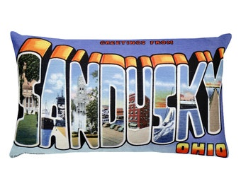 Sandusky Ohio OH Pillow Vintage Greetings from Large Letter Postcard 20x12 Throw Pillow with Insert Retro Travel Gift Souvenir