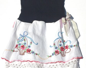 Hankie Babies vintage tablecloth dress -- Lizzie style Made to Order Wholesale Avail