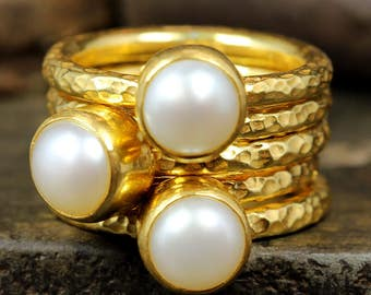 Hammered 24K Yellow Gold over 925 Solid Sterling Silver Natural Freshwater White Pearl Stacking Rings, Set of Five Designer Stackable Rings
