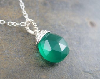Green Onyx Pendant Charm - Sterling Silver Onyx Necklace - Solitaire Pendant - Faceted Briolette Drop