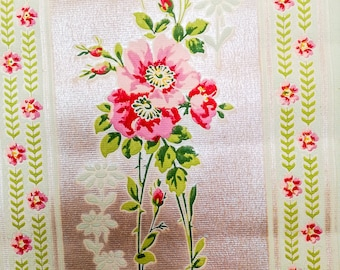Antique FRENCH WALLPAPER roll, beige background, pink dogroses, stripes & ribbon bows, pearly finish, early 1900's, vintage floral wallpaper
