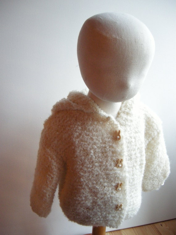 Hooded coat for baby alpaca boucle - natural baby - écru - 6 m - other sizes and colors made to order
