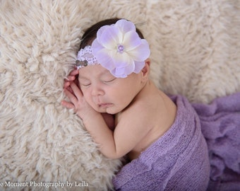 BOUTIQUE STYLE-Lavender-Lace Flower Headband-Baby Girl headbands, headband set-Lace-Newborn Headband-Blossom-Spring Headbands-purple