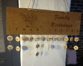 Calendar wooden pyrographed (and varnished) 30 cm x 15 cm for members of your family and/or friends birthdays.