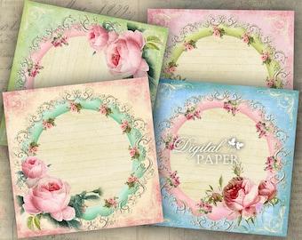 Squares Labels - set of 6 - digital collage sheet