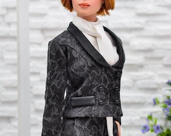 ELENPRIV black jacquard jacket with satin collar and full satin lining for Tonner Tyler dolls and similar body size dolls