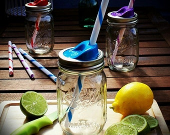 Ball Mason Sip & Straw Glass Smoothie/Drinking Jar with Blue Lid and Reusable Plastic Straw **UK SELLER**
