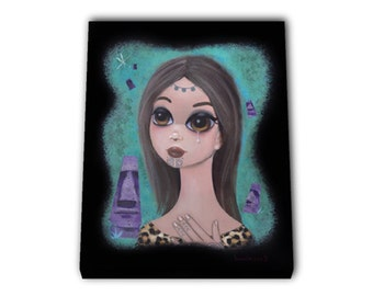 SALE!  MATAVAI Big Eyed Tiki Queen. Canvas Print of an Acrylic On Canvas Painting. Hand signed