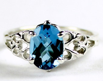 London Blue Topaz , 925 Sterling Silver Ring, SR302
