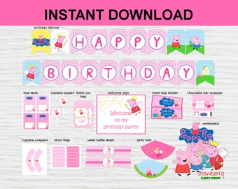 SALE! Peppa Pig Party Decoration Printable, Party Package, Peppa Pig Birthday Welcome Sign, Banner, Cupcake Toppers,  INSTANT DOWNLOAD