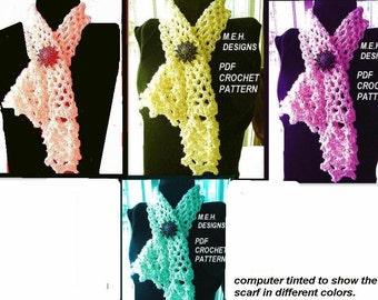 scarf, CROCHET PATTERN, num 233, Irish Inspired, Marguerite Lacy  Scarf or Cowl,  Neckwarmer, you may sell your finished items..
