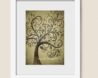 Whimsical Tree Wall Art 5 x 7 Print, Green Nature Inspired Home Decor, Earthy Natural Colors, Brown Tree Print (40)