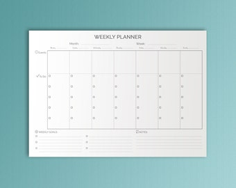 Weekly Planner Pages Black And White Printable Desk Pad Weekly Agenda Weekly To Do  Monday Start Inserts Week Organizer A4 Instant Download