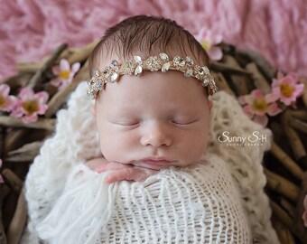 Rose Gold, Silver Or Gold Baby Rhinestone Headband | Crystal Baby Headband | Rhinestone Newborn Photo Prop Headband | Daisy Headband