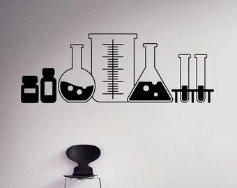 Laboratory Glass Wall Decal Vinyl Sticker Chemistry Classroom Art Decor Home Interior Room Custom Design Window Bedroom Ideas 8(shy)