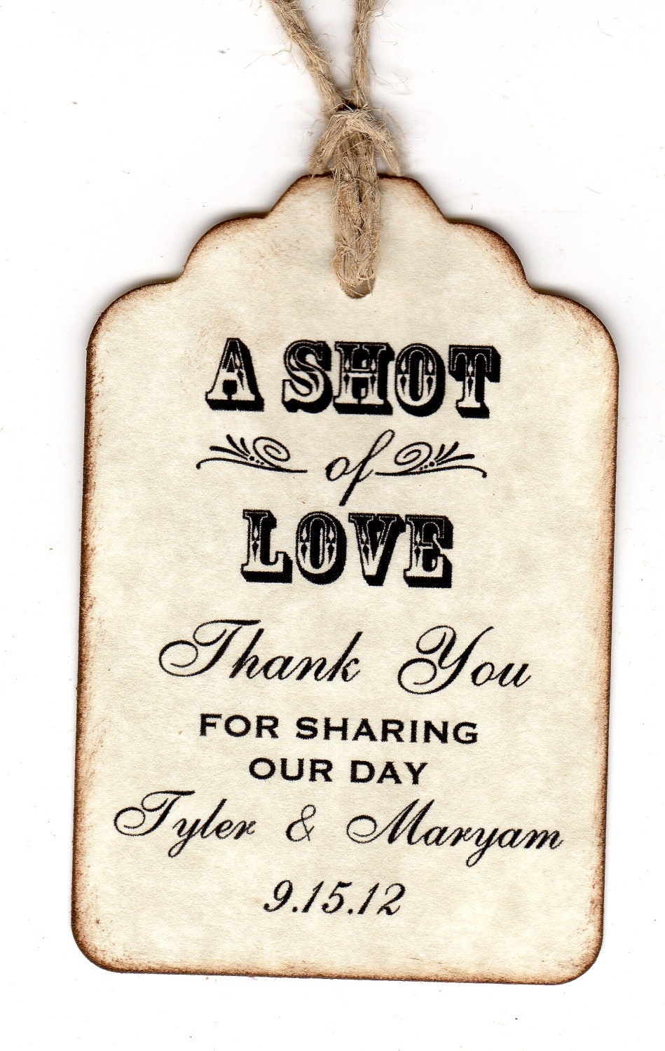 50 Shot Of Love Wedding Favor Tags Personalized Thank You Shot