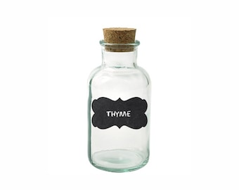 Spice Jar Labels FRONT PAGE - Scroll Frame Black & White - Fancy Scroll Labels - Chalkboard Stickers
