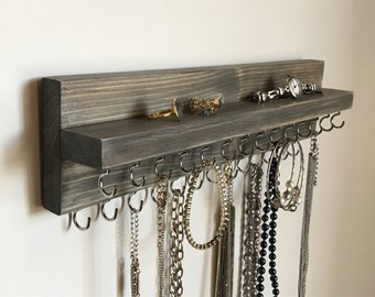 White Jewelry Organizer Holder Necklace Display Wall Mounted
