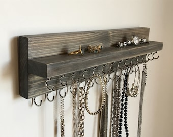 Rustic Gray Jewelry Organizer Holder, Wall Mounted Necklace Display, Holds Necklaces Bracelets