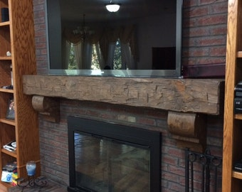 Fireplace Mantel Rustic 6 Foot Hand Hewn Solid Pine 72\ Mantels
