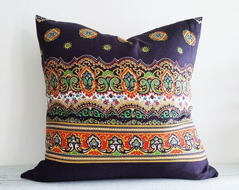 Boho Pillow Covers, Bohemian Pillow, Bohemian Pillow Covers, Bohemian Floor Cushion, Green Orange, Black Throw Pillow, Bohemian Decor, 20x20