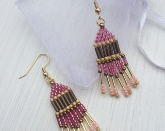 Gold Plated and Beaded Chandelier Earrings, Native American Style, Brick Stitch, Handmade, Pink and Gold