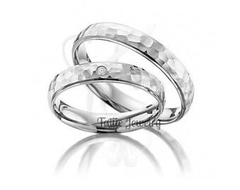 Platinum Matching Wedding Bands, His & Hers Wedding Rings Set,Couple Wedding Rings,Platinum Mens Womens Hammered Finish Diamond Wedding Band