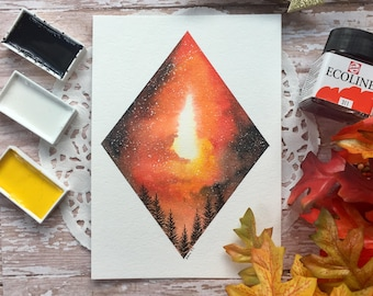 """7x5 Original """"Fire in the sky 3"""" watercolor painting"""