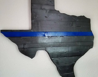 Thin Blue Line Texas Wall Art - Law Enforcement - Reclaimed Wood Wall Art - Unique Gift