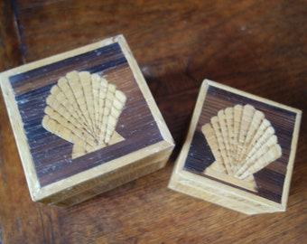 Unique Vintage Decorative Wooden Shell boxes