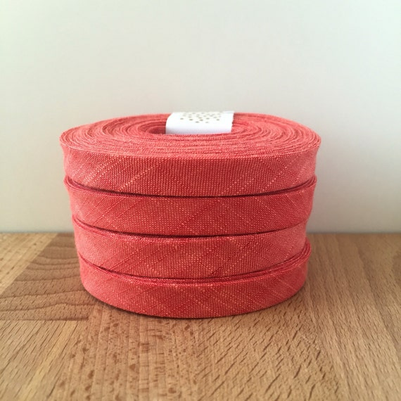 "Bias Tape- Kaufman Manchester Yarn-Dyed Poppy Chambray 1/2"" Double-Fold Cotton binding- Watermelon Red- 3 yard roll"