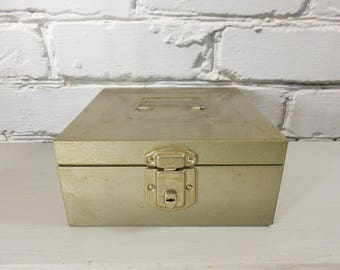 Vintage Excelsior Cash Box - Industrial Metal Money Box