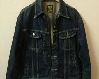 Vintage Lee Riders ® Sanforized Shrunk Blue Denim Jeans Jacket