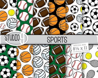 SPORTS Digital Paper: SPORTS Pattern Prints, Sports Download, Sports Backgrounds Sports Scrapbook
